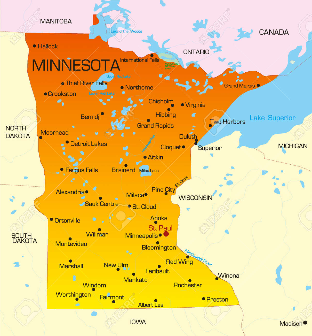 Vector Color Map Of Minnesota State. Usa Royalty Free Cliparts