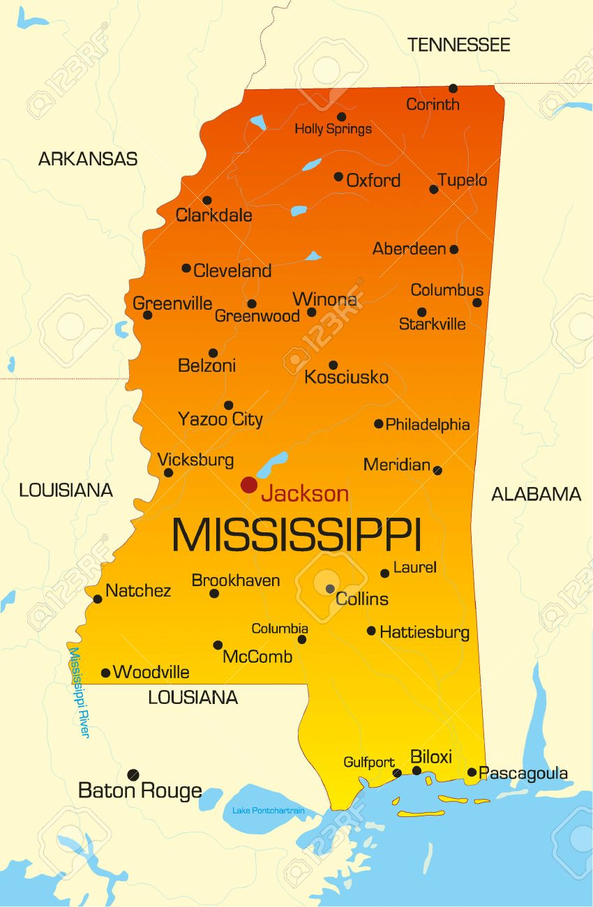 Vector Color Map Of Mississippi State. Usa Royalty Free Cliparts