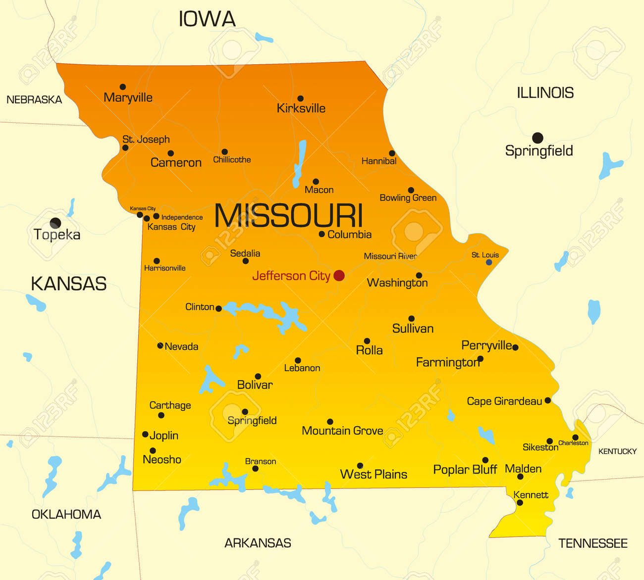Vector Color Map Of Missouri State Usa Royalty Free Cliparts - Missouri usa map