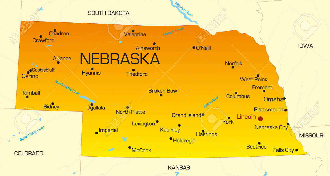 Vector Color Map Of Nebraska State Usa Royalty Free Cliparts - Nebraska us map