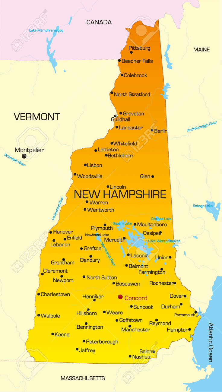 New Hampshire On Map Of Usa.Vector Color Map Of New Hampshire State Usa Royalty Free Cliparts