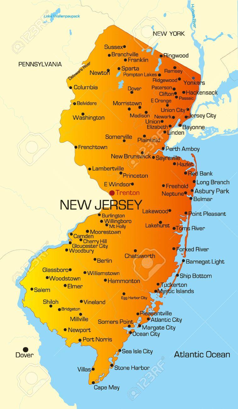 Farbe Vektorkarte Von New Jersey State Usa Lizenzfrei Nutzbare