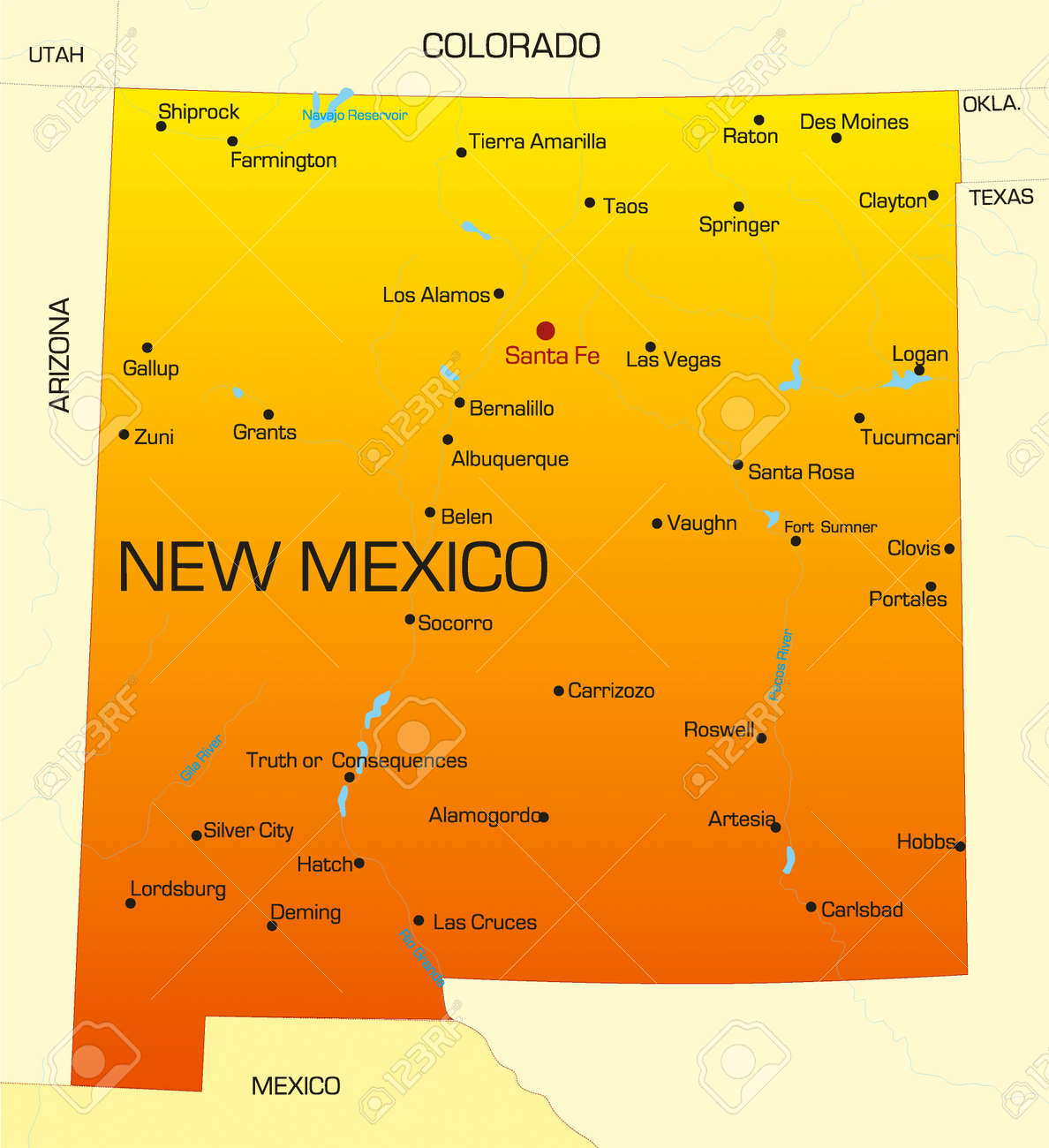 Vector Color Map Of New Mexico State. Usa Royalty Free Cliparts ...