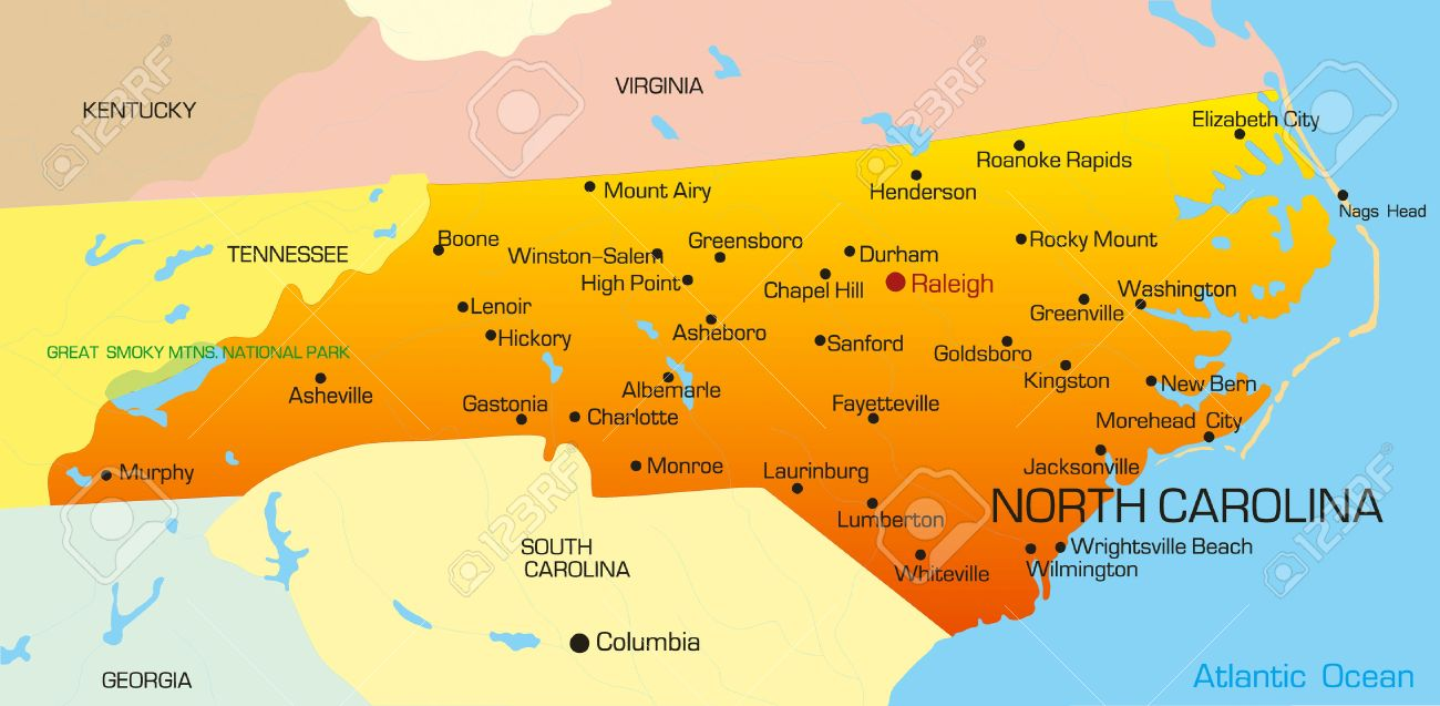Vector color map of North Carolina state. Usa