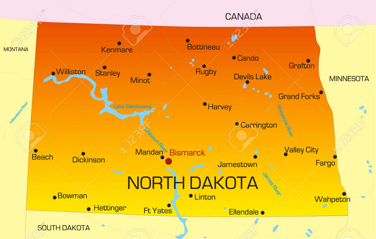 North Dakota State Map Vector Color Map Of North Dakota State. Usa Royalty Free Cliparts