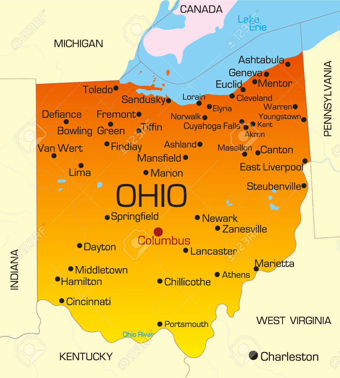 Vector Color Map Of Ohio State Usa Royalty Free Cliparts Vectors - Us map of ohio