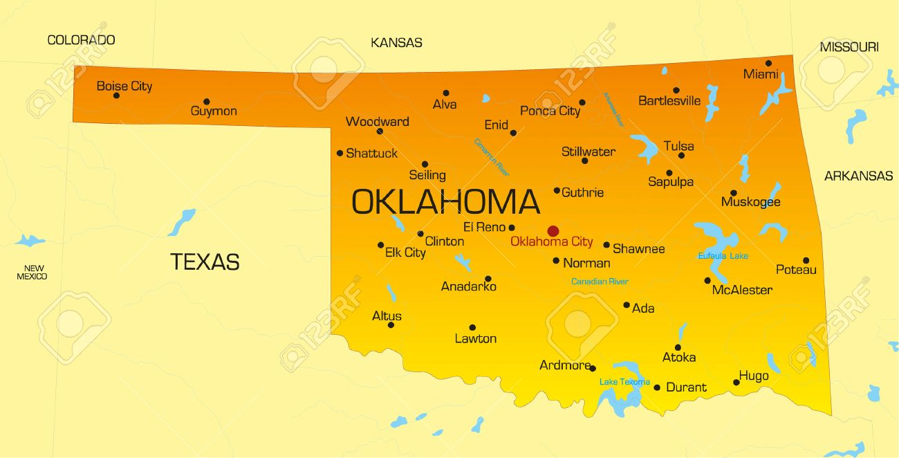 Vector Color Map Of Oklahoma State Usa Royalty Free Cliparts - Map of the state of oklahoma