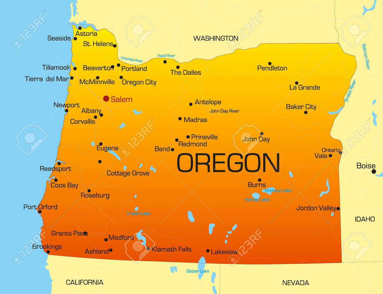 Map Of Oregon State Vector Color Map Of Oregon State. Usa Royalty Free Cliparts