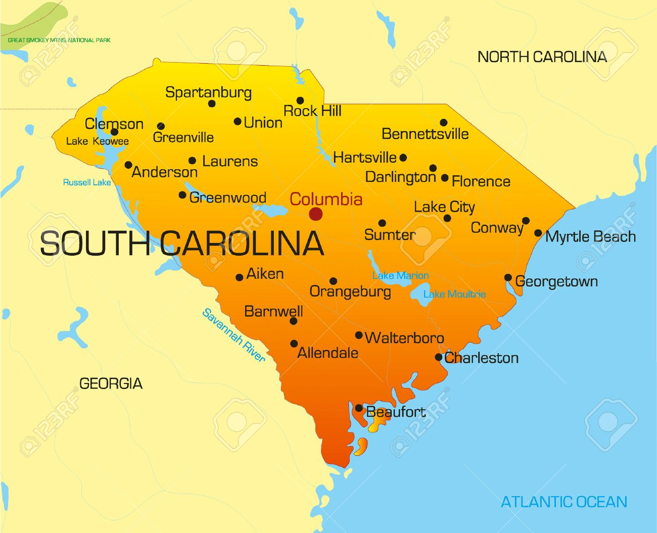 Vector Color Map Of South Carolina State Usa Royalty Free Cliparts