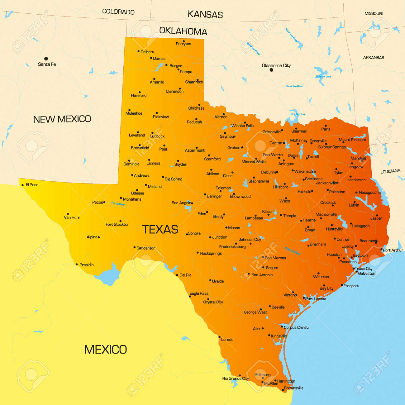 Vector Color Map Of Texas State Usa Royalty Free Cliparts - Mapa texas