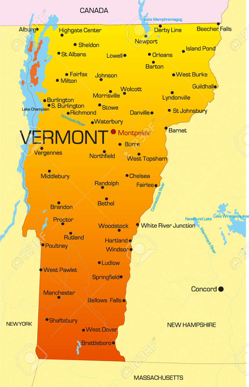 Vector Color Map Of Vermont State Usa Royalty Free Cliparts