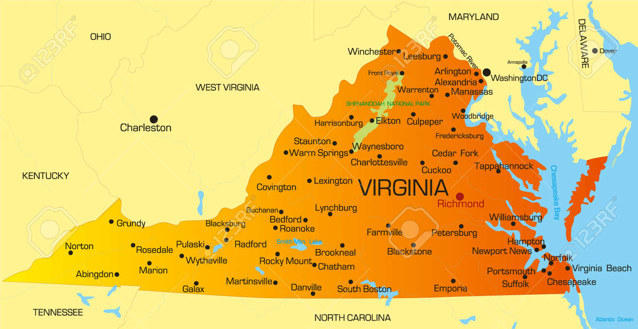 Vector Color Map Of Virginia State Usa Royalty Free Cliparts - State map of va
