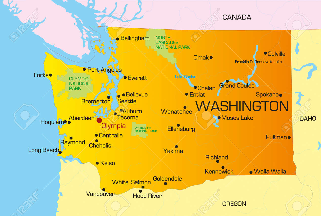 Vector Color Map Of Washington State. Usa Royalty Free Cliparts ...