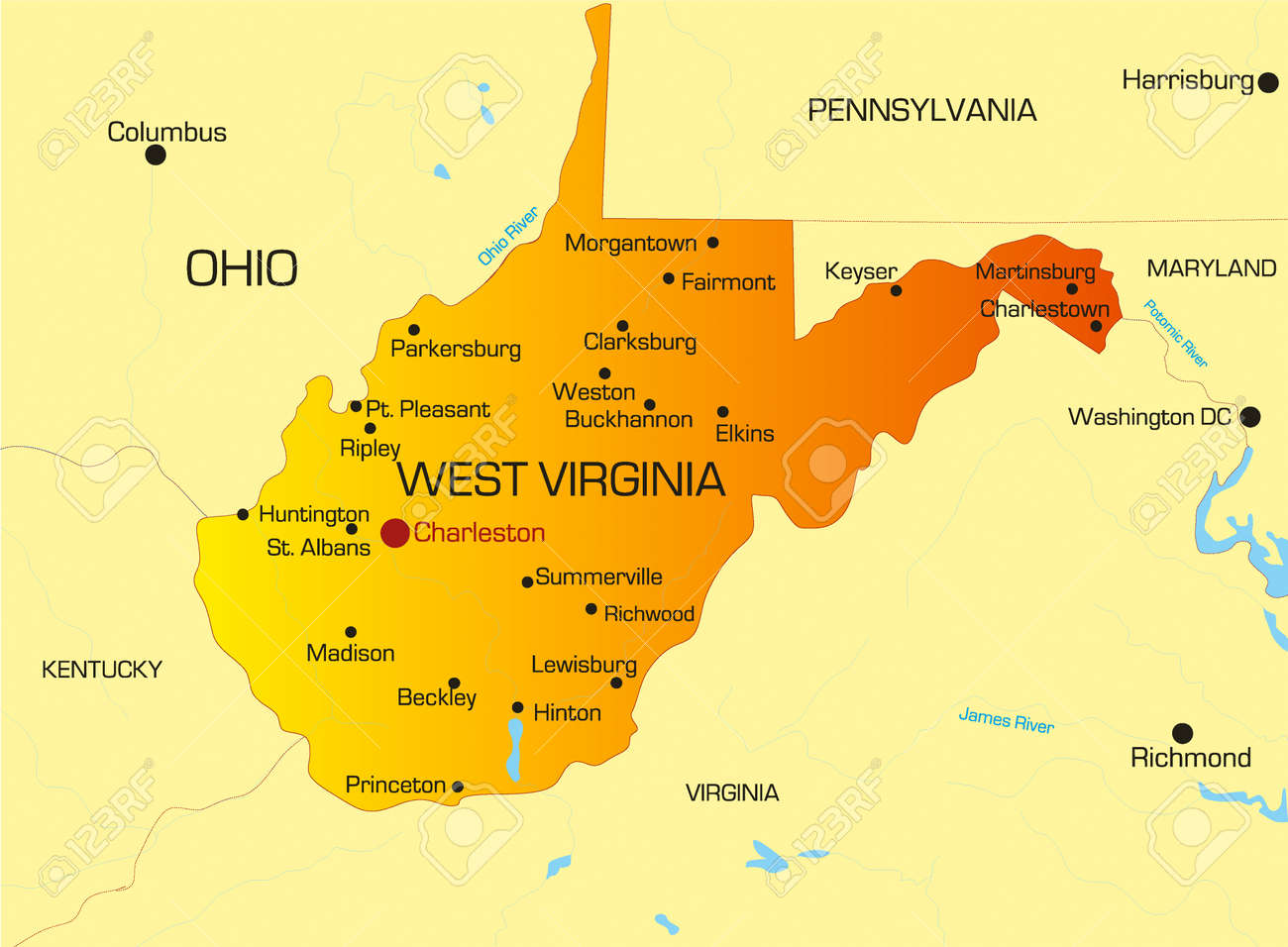 Vector Color Map Of West Virginia State Usa Royalty Free Cliparts - Virginia on map of usa