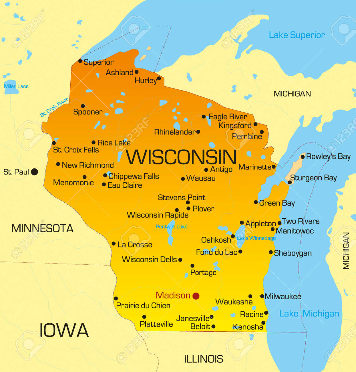 Vector Color Map Of Wisconsin State Usa Royalty Free Cliparts