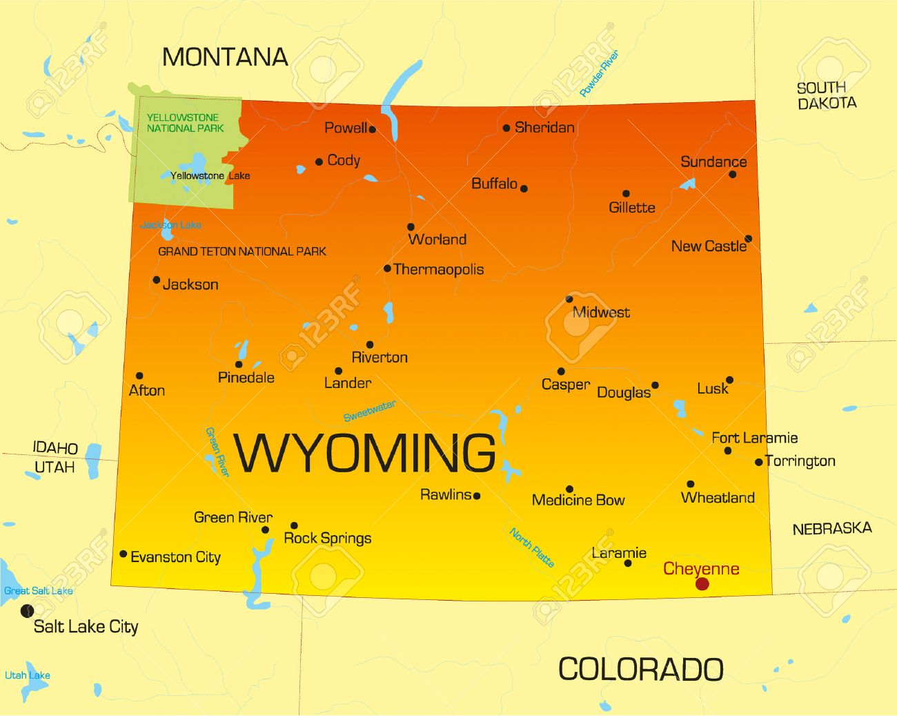Vector Color Map Of Wyoming State Usa Royalty Free Cliparts - Wyoming map