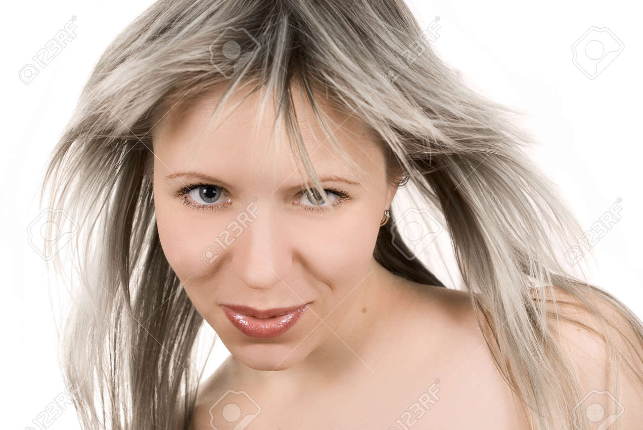 Beautiful sexy girl with tousled hair on white Stock Photo - 4514522