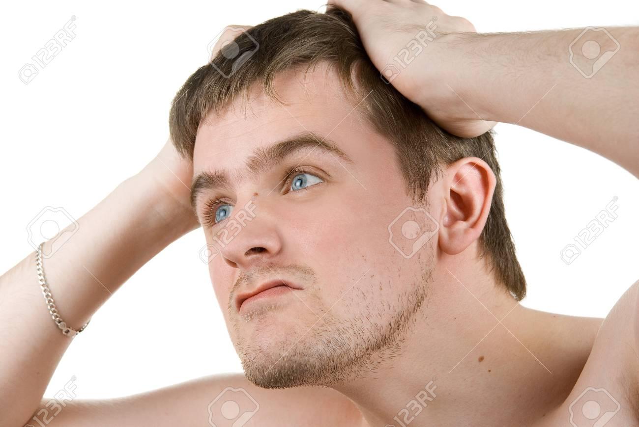 Thinking man isolated on white background Stock Photo - 4620838