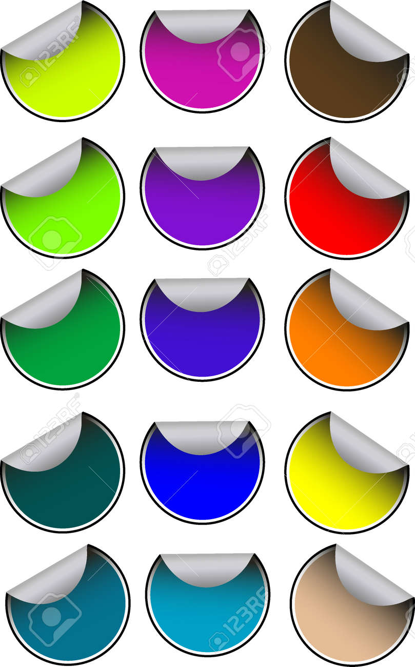 Vector many colored stickers on white Stock Vector - 4965980