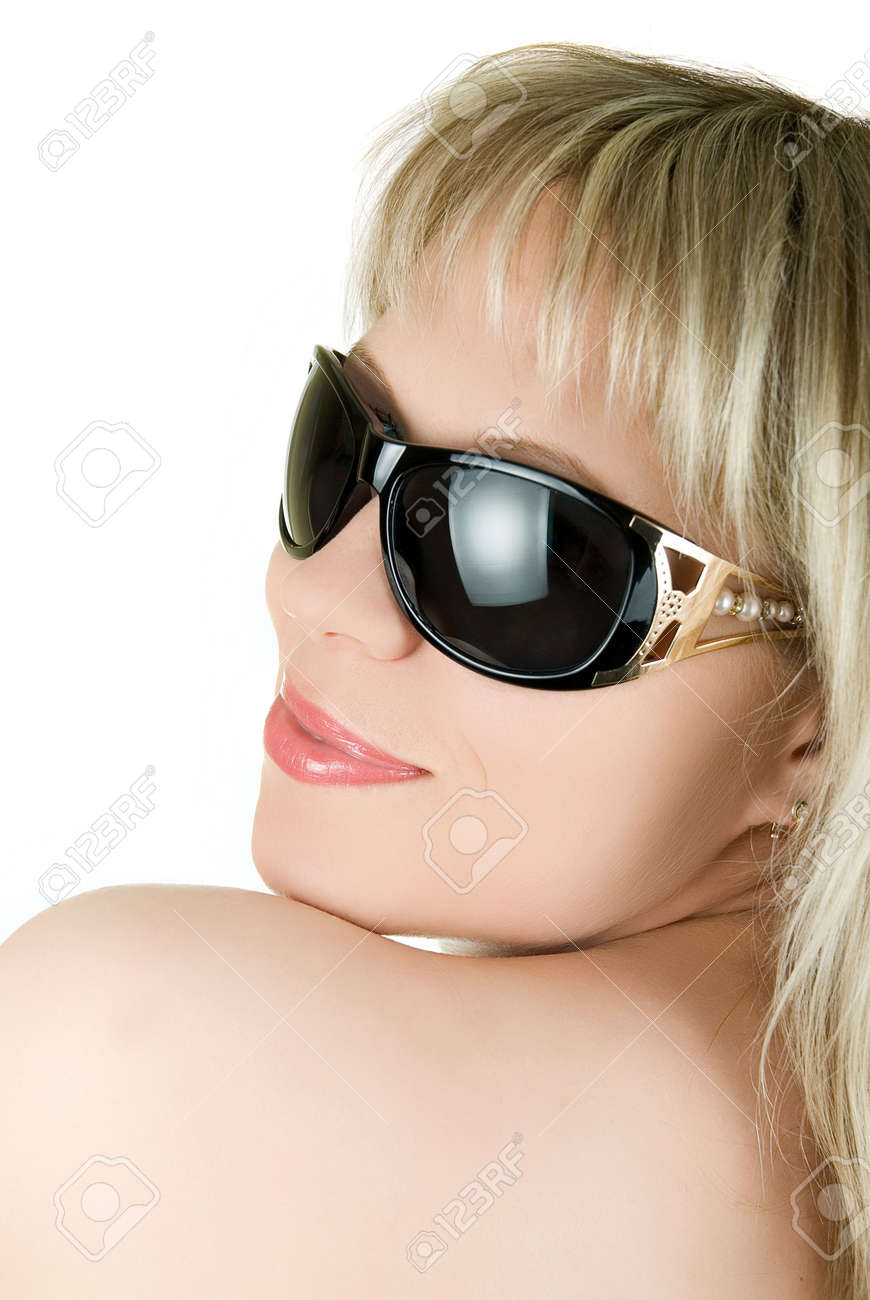 closeup portrait of blond woman in sunglasses on white background Stock Photo - 5104135