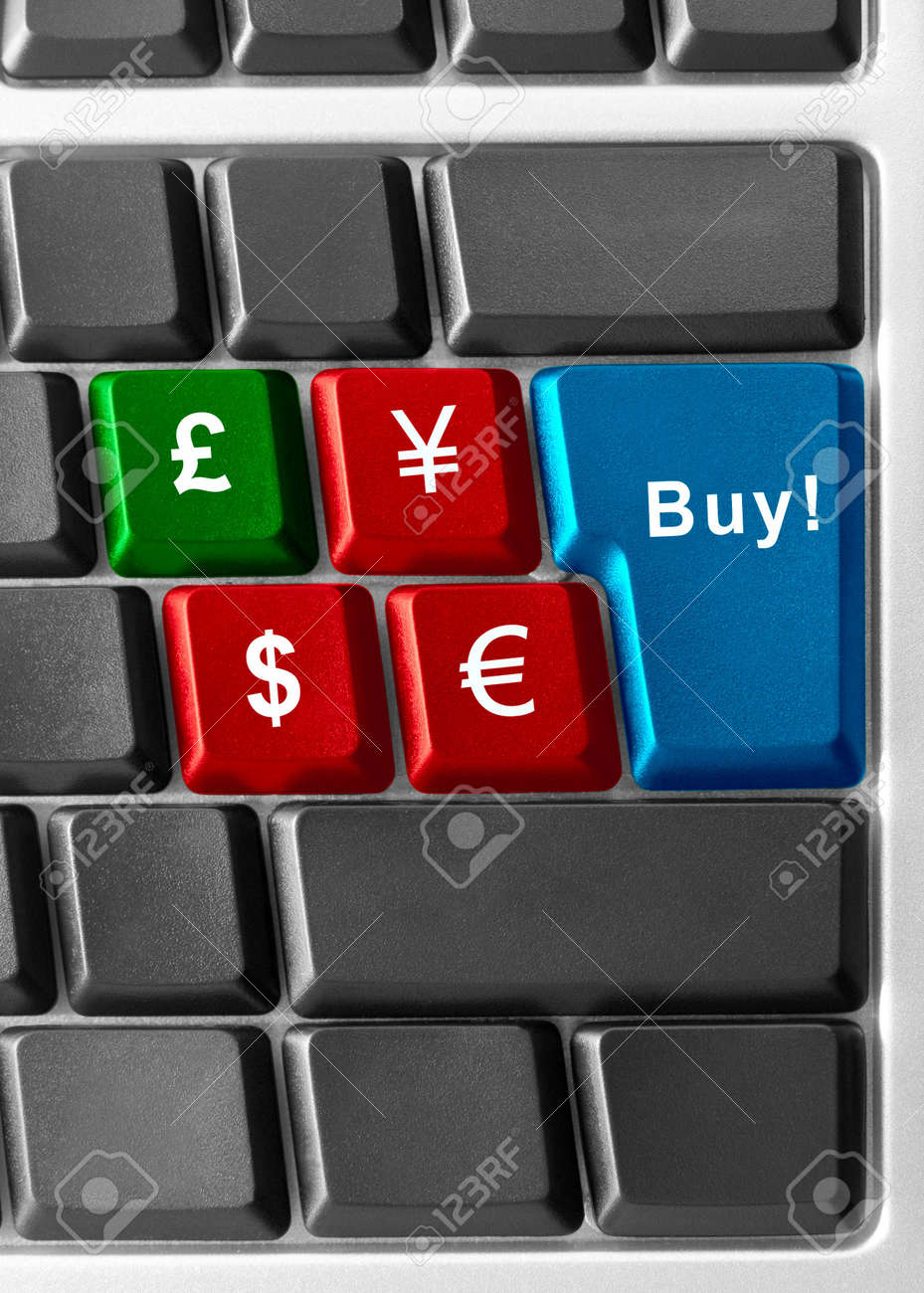 Computer keyboard concept of currency buying/selling Stock Photo - 5275088