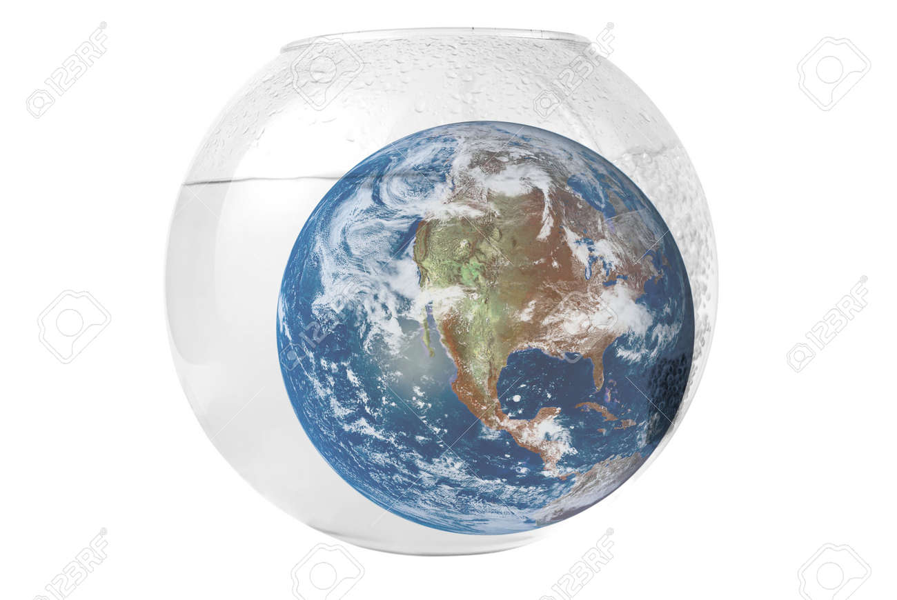 earth at aquarium isolated on white background Stock Photo - 5319620