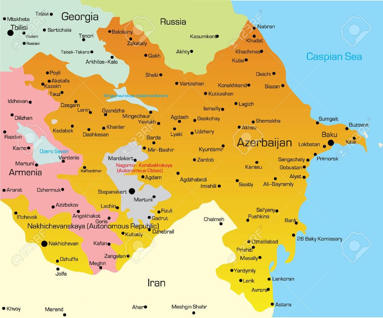 Vector Illustration Of Azerbaijan Map Royalty Free Cliparts - Azerbaijan map