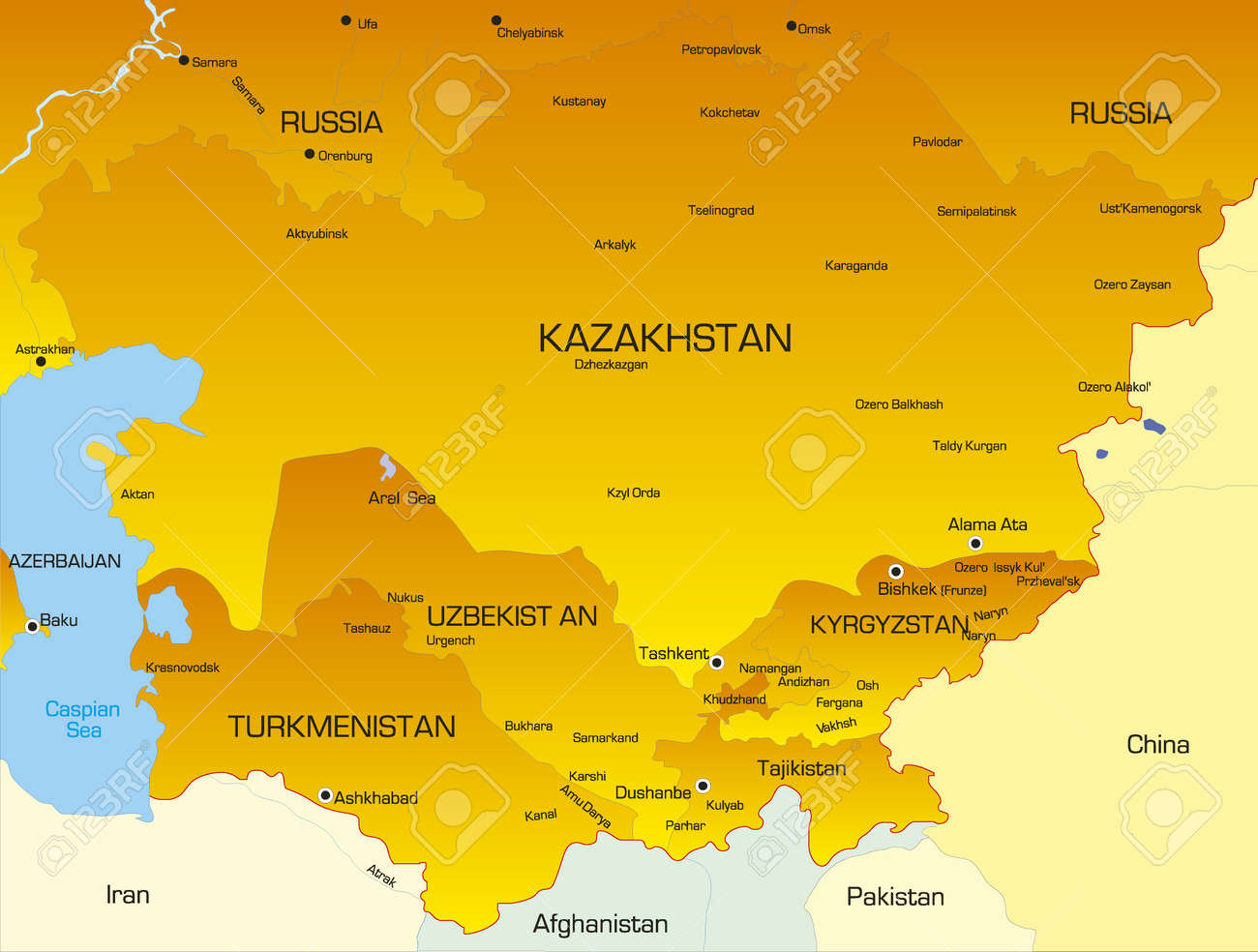 Vector Color Map Of Central Asia Countries Royalty Free Cliparts - Central asia political map