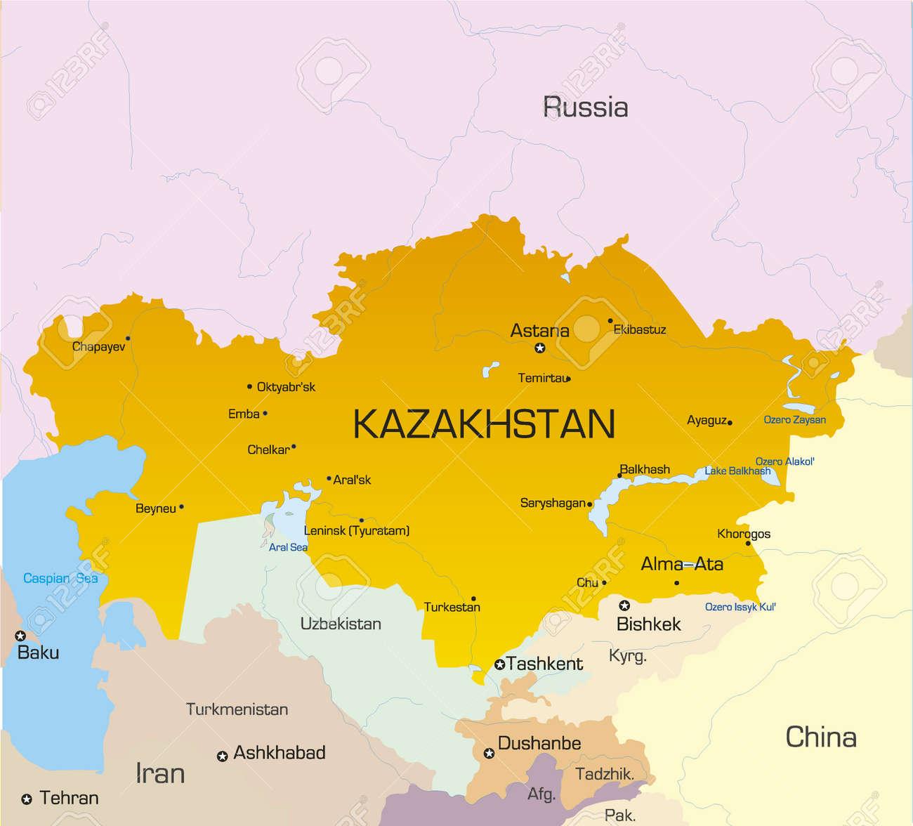 Vector Illustration Of KAZAKHSTAN Map Royalty Free Cliparts - Kazakhstan map
