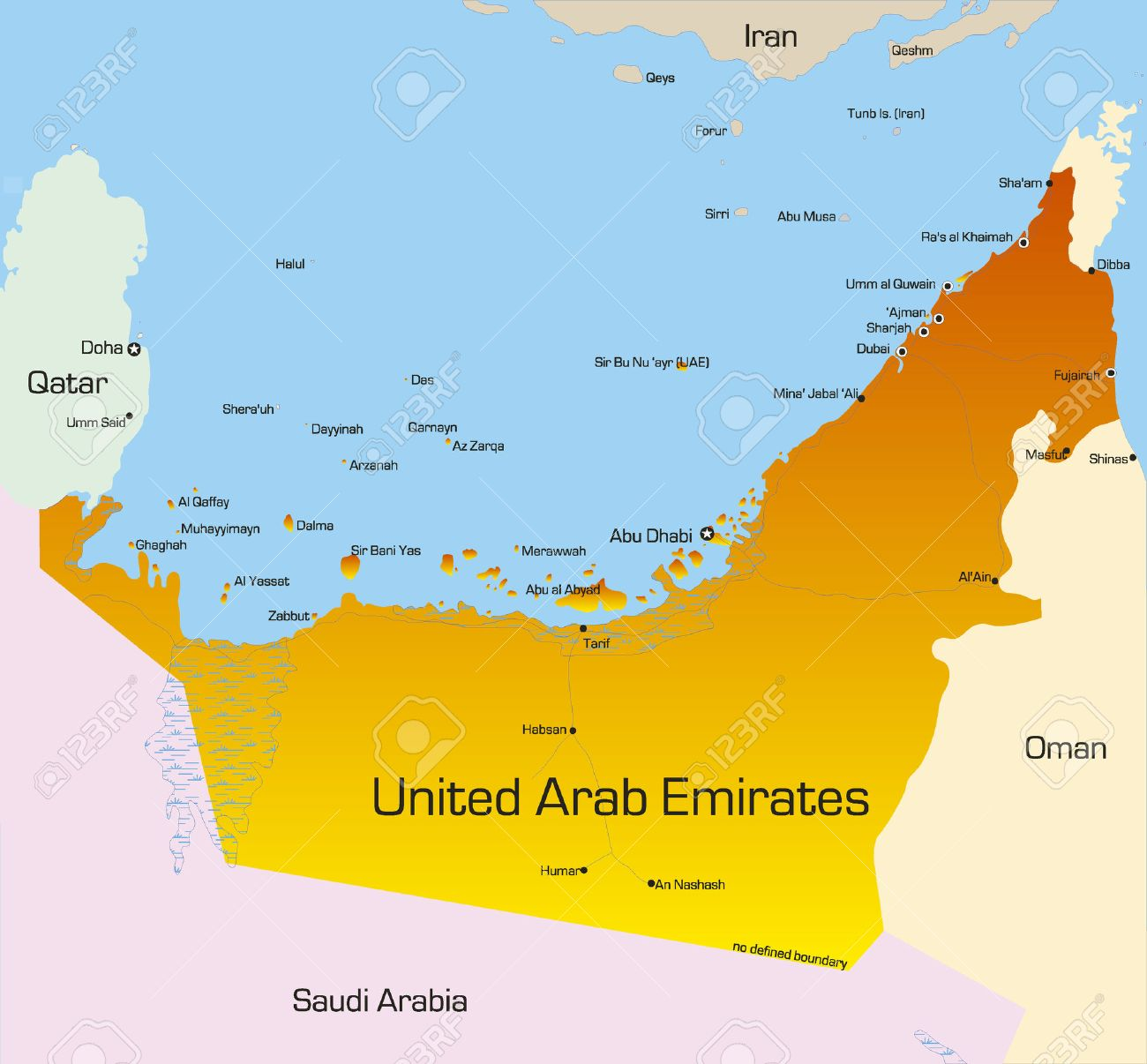 vector vector color map of united arab emirates country