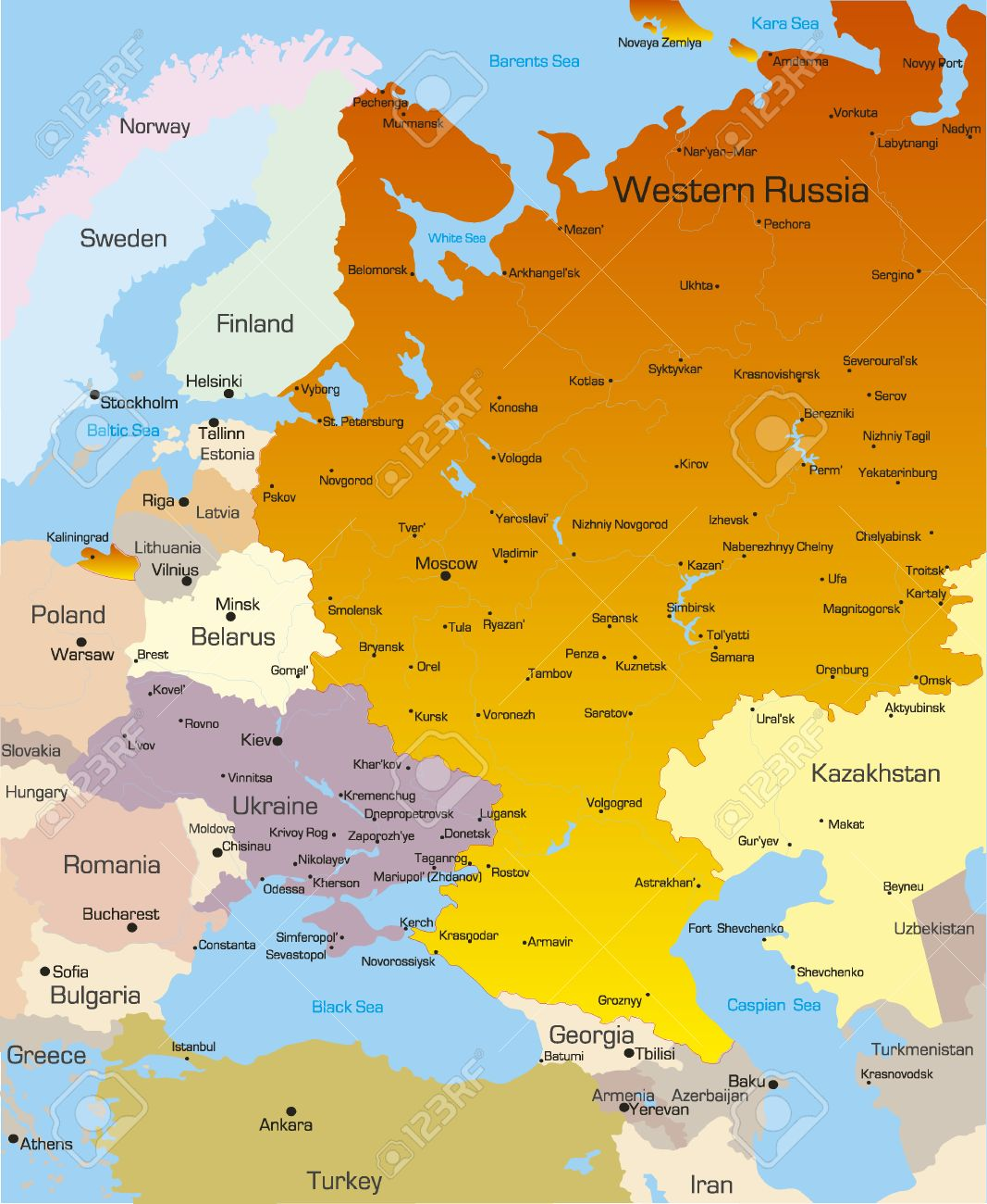 Vector Color Map Of West Russia Region Royalty Free Cliparts