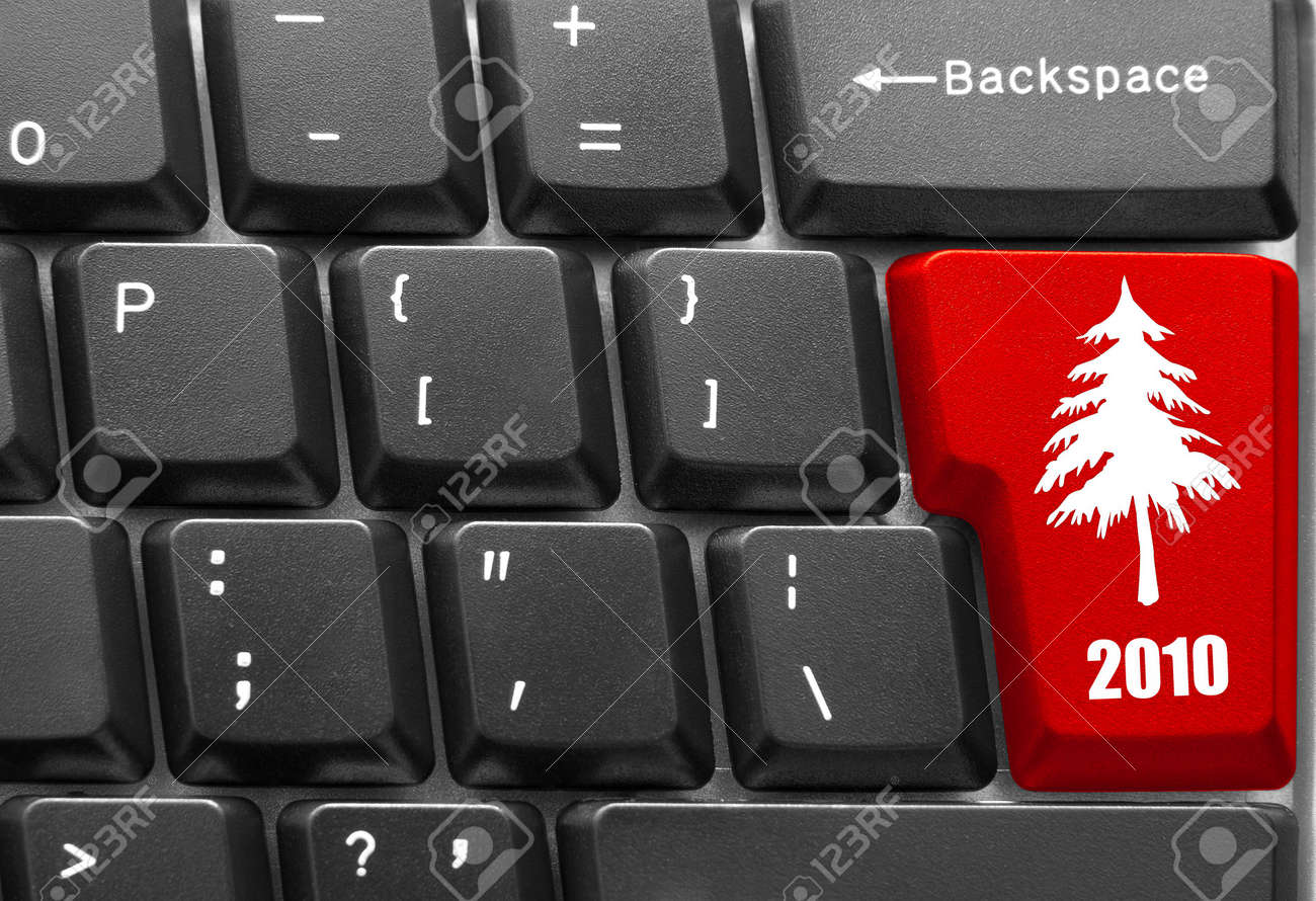 Close-up of computer keyboard with red Christmas tree key Stock Photo - 5964438