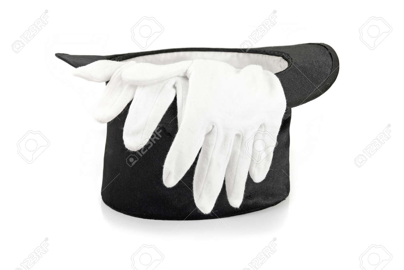 Black gloves white magic - Black Magic Hat And White Gloves Isolated On A White Background Stock Photo 6180189