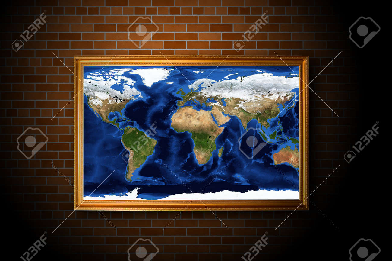 frame with earth map hanging on the brick wall Stock Photo - 6260678