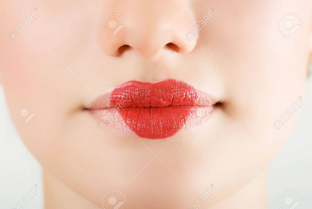 heart on lips of pretty woman closeup Stock Photo - 6357391