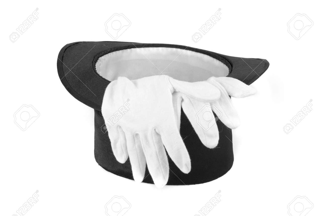 Black magic hat and white gloves isolated on a white background Stock Photo - 6740728