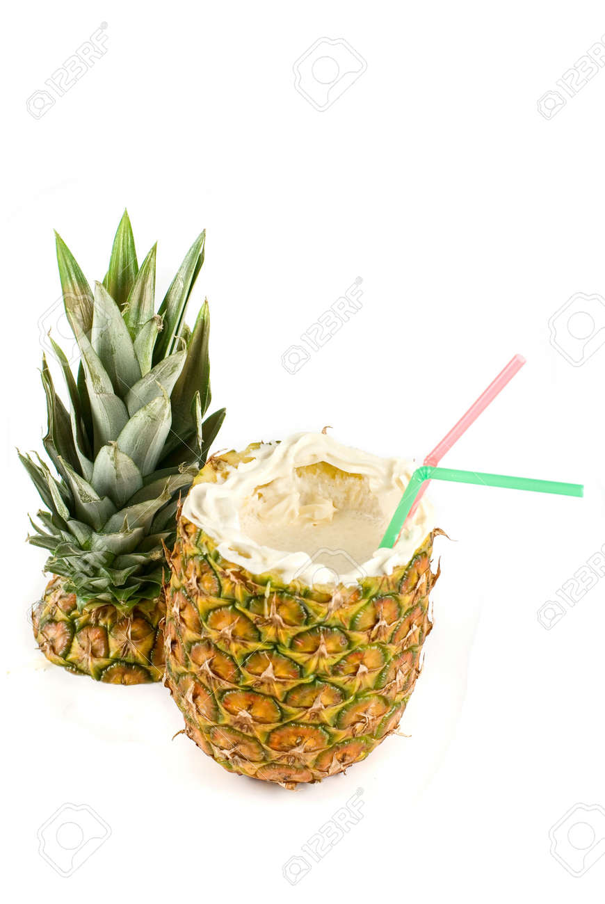 Milk cocktail with pineapple as cup on a white Stock Photo - 6740777