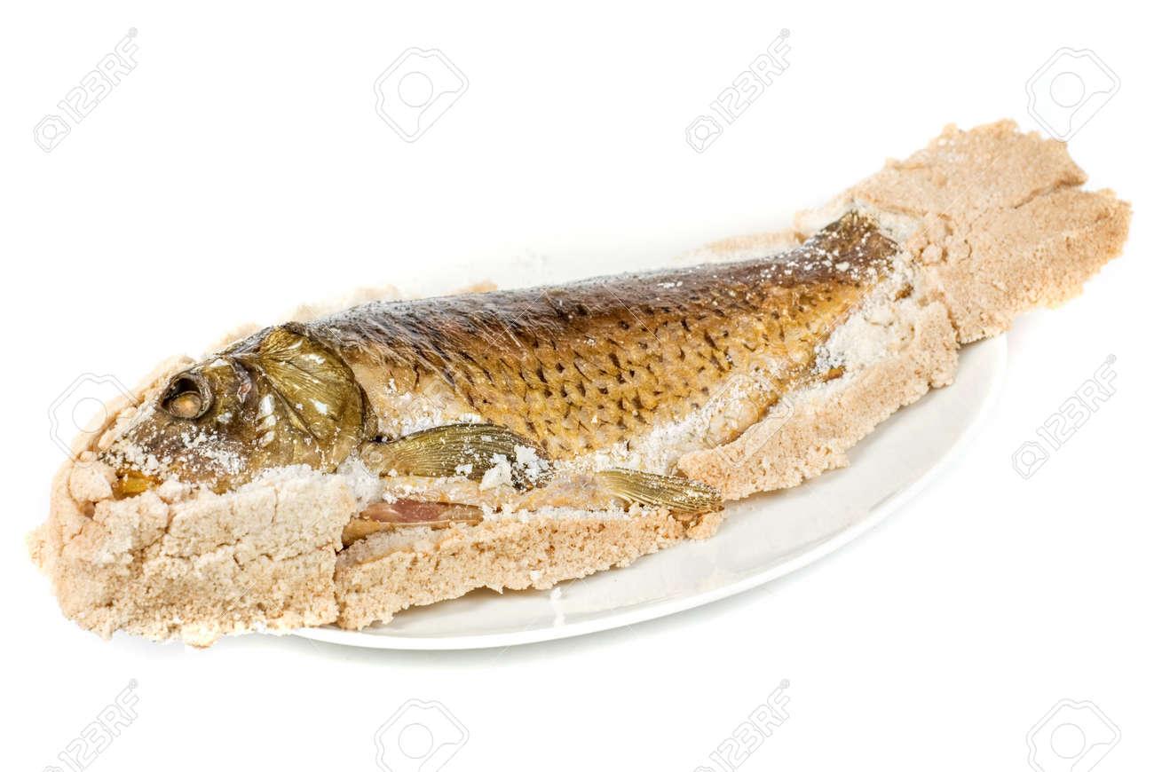 Fish carp baked with bay salt closeup Stock Photo - 7023463