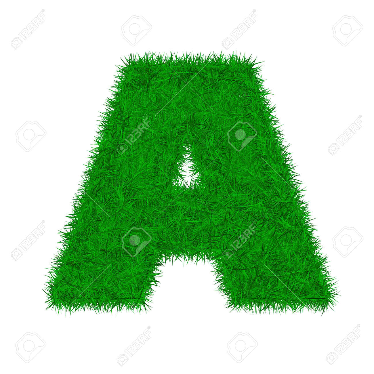 green grass letter font isolated o white background Stock Photo - 7208463