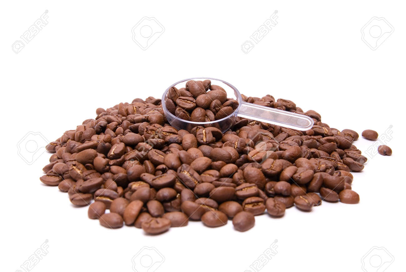 coffee bean with spoon on a white background Stock Photo - 7317941
