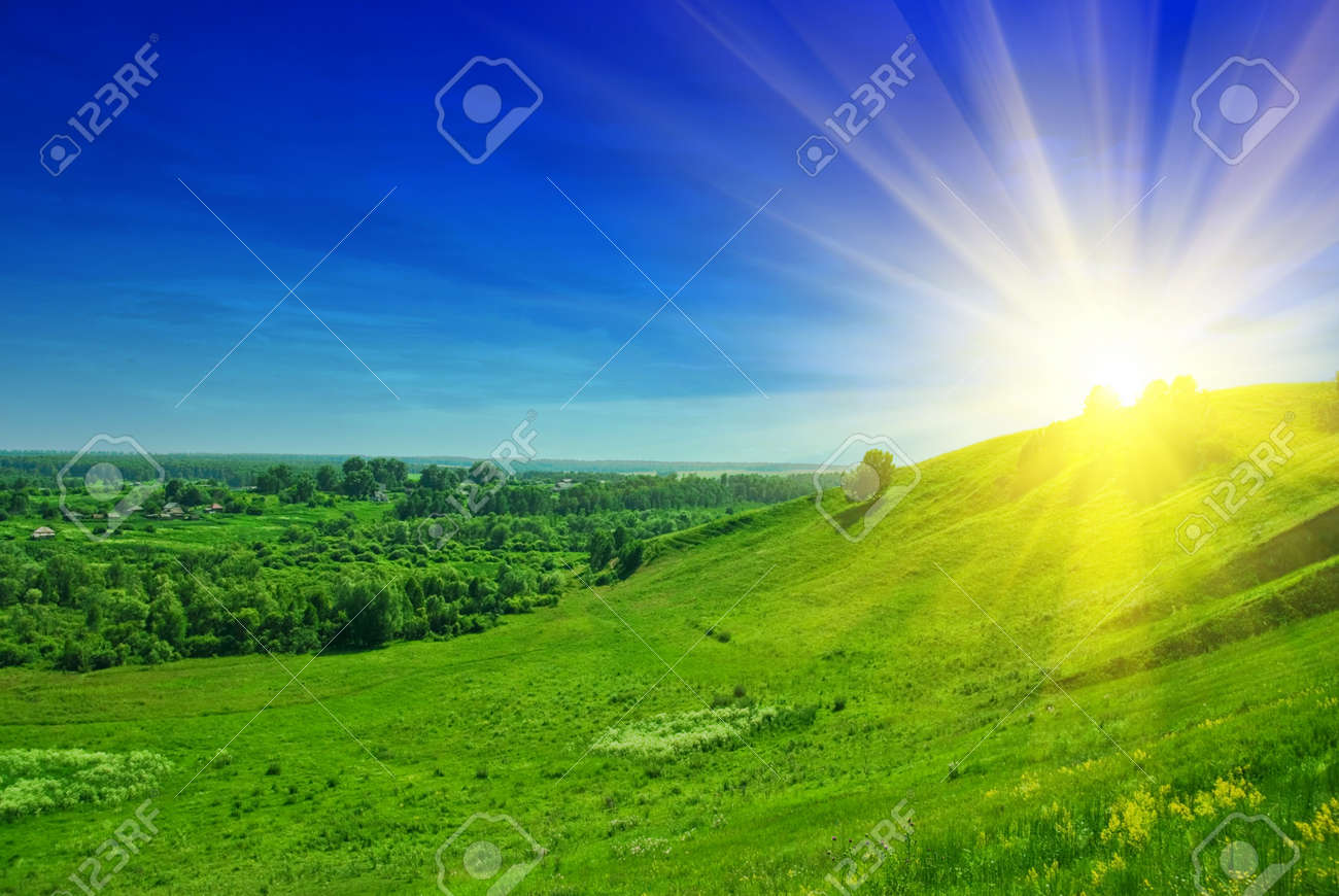 summer landscape of green valley and blue sky Stock Photo - 7434245