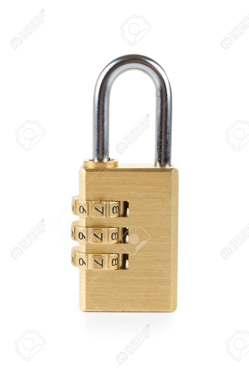 Close-up combination padlock isolated on white background Stock Photo - 7496143