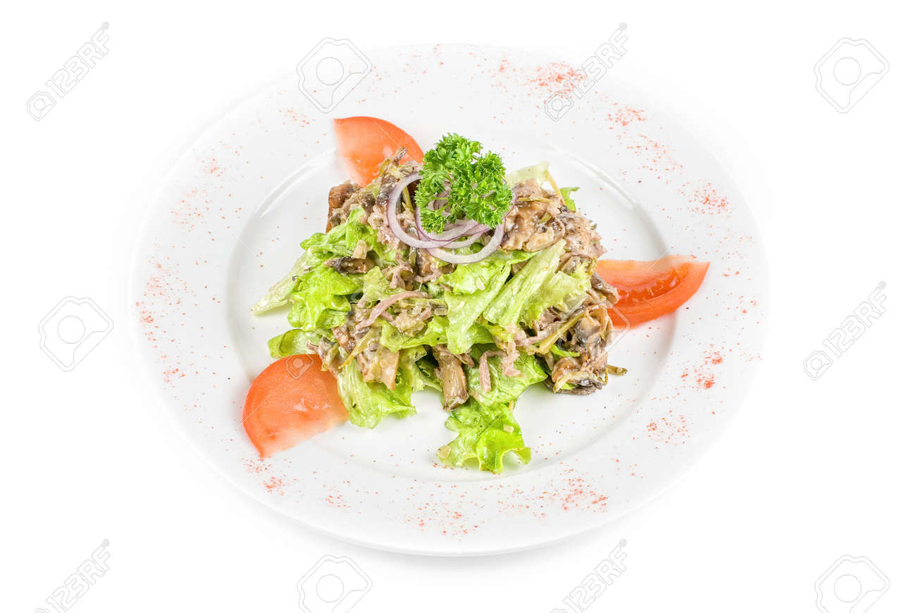 Salad of squid with roast chicken meat, apples, tomatoes, eggs and peppers Stock Photo - 7586646