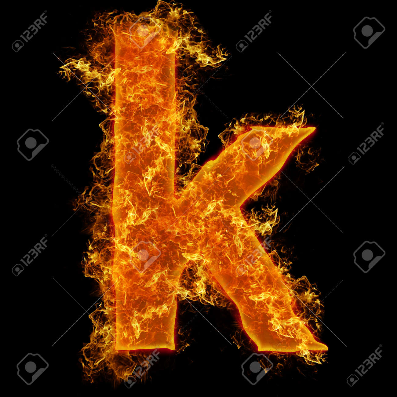 Fire Small Letter K On A Black Background Stock Photo