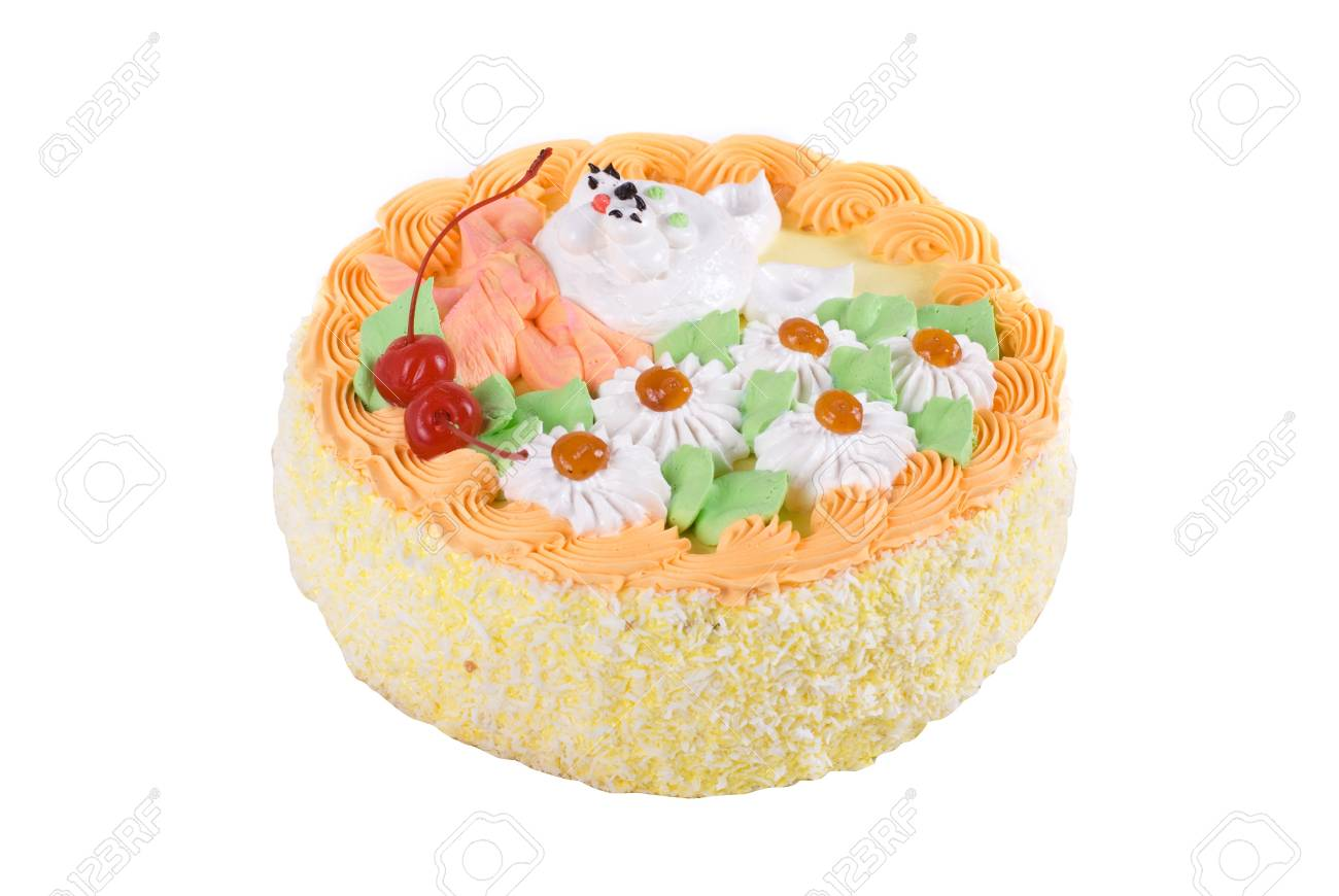 cream cake closeup with cherry on a white Stock Photo - 7753565