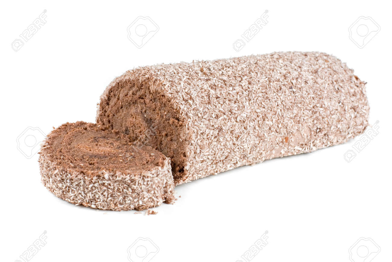Chocolate Swiss roll closeup isolated on a white background Stock Photo - 7753611
