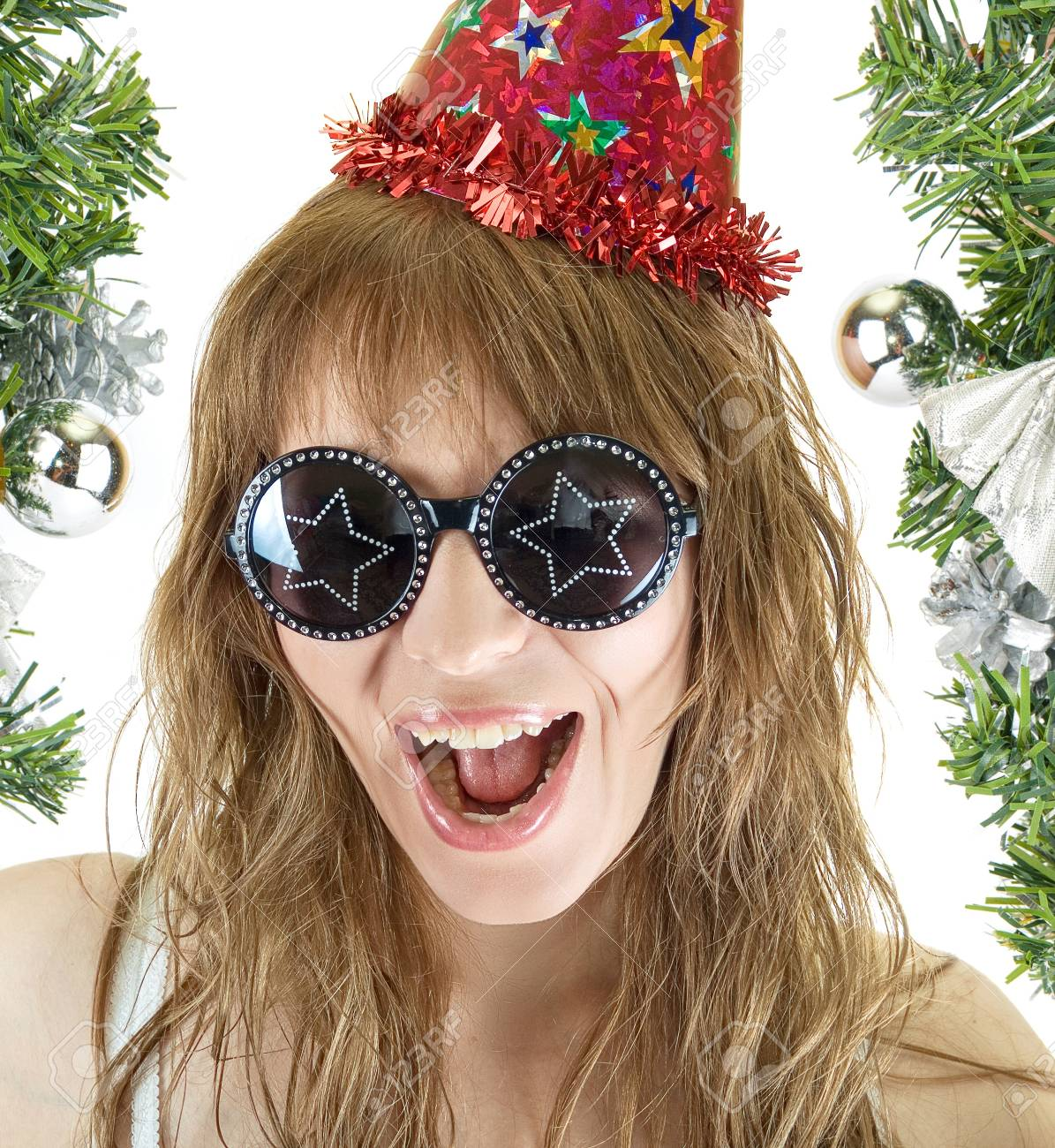 Happy pretty festive woman isolated on white background Stock Photo - 8267129