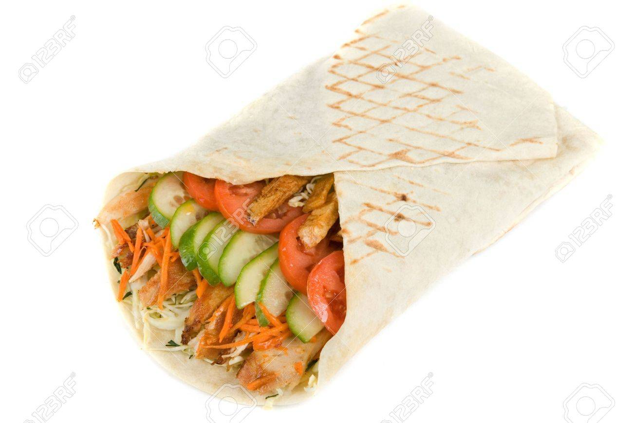 Doner kebab closeup on a white background. Stock Photo - 8481978