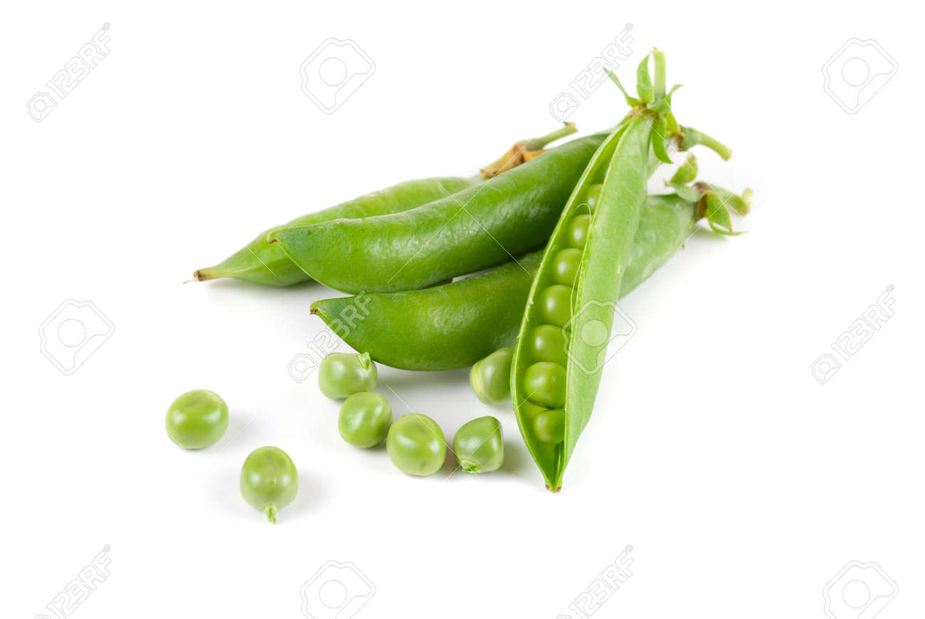 Ripe pea vegetable with green leaf isolated on white background Stock Photo - 9020488