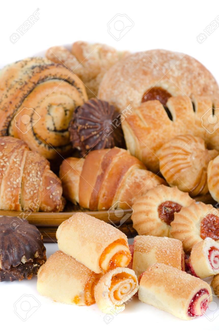 Bakery foodstuffs set on a white background Stock Photo - 9399606